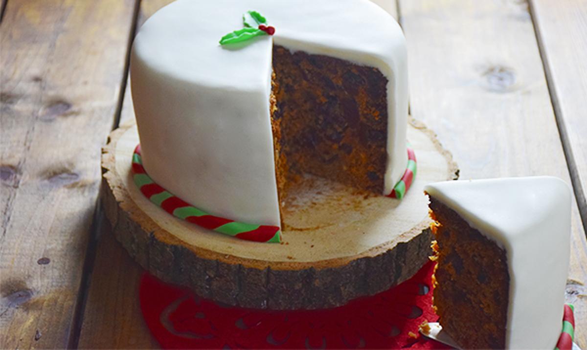 Christmas Cake With Cherries Raisins And Orange Juice