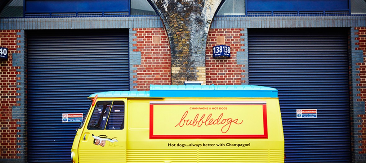 vintage yellow and blue food truck