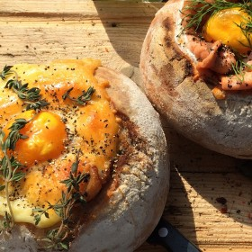 eggs and salmon bread