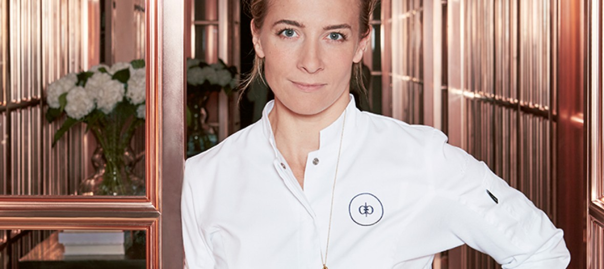 Amandine Chaignot wearing her chef outfit