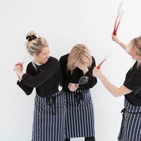 3 blondegirls fighting with kitchen tools